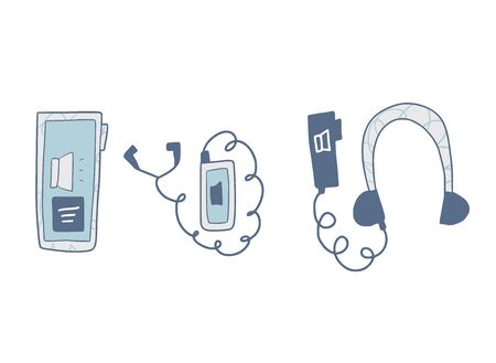 Audiobooks set in doodle style. Vector illustration.