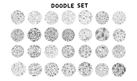 Set of doodles. Hand drawn icons. Big collection of round badges with different objects. Travel, lifestyle, food, education topics. Vector black and white illustration.