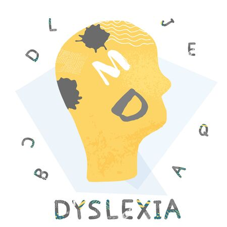 Dyslexia emblem. Human brain with symbols. Vector sign with stylized letters.