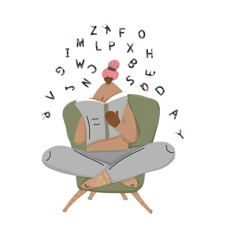 Reading girl with stylized letters isolated on white background. Vector illustration.