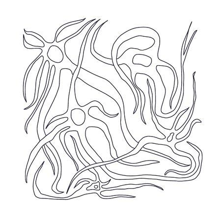 Neuron cells with long axons. Vector illustartion. Stock Illustratie