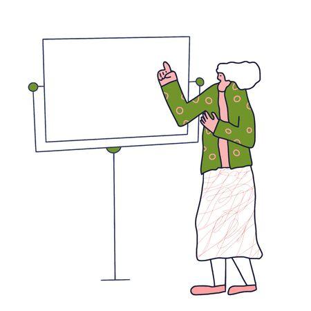 Girl standing at the board. Office presentation. Vector flat illustartion.