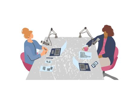Podcast concept. Young women have a conversation  in a studio. Vector flat illustartion. Çizim