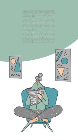 Young woman  sitting in chair and reading a book in her room. Template for story. Vector illustration.