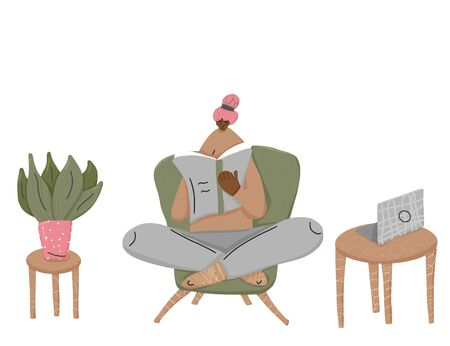 Young woman  sitting in chair and reading a book in her room. Vector illustration.