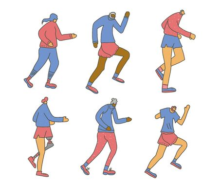 Runners. Different persons jogging isolated. Vector design.