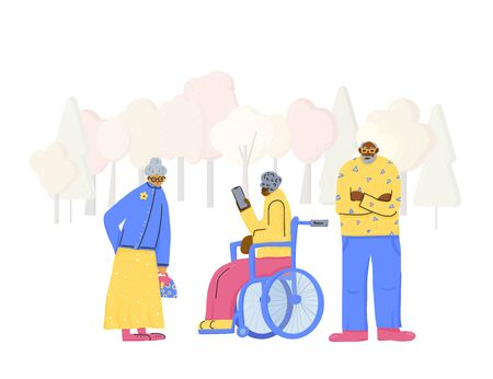 Senior people at the park. Different retired persons walking. Vector flat illustration.