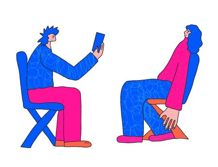 Man take a picture of his friend. Young human  characters sitting on the chair. Vector illustartion.