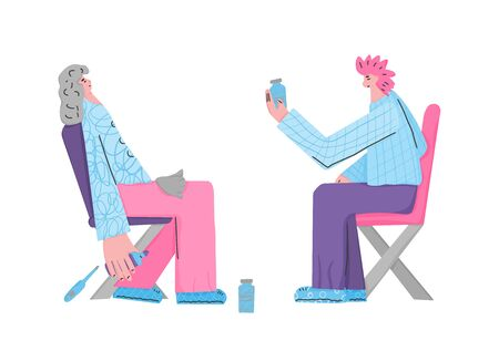 Flu treatment. Young female character sitting on the chair with running nose and pills. Vector flat illustartion.