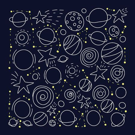 Space objects and symbols set. Square dark poster. Vector hand drawn doodles illustration.