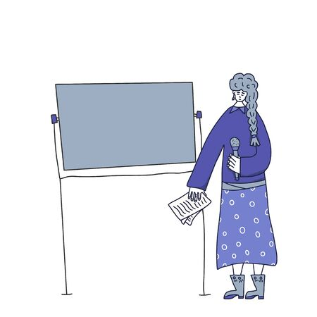Speaker character affording a presentation. Young woman standing at the board with microphone and giving report. Orator speaking. Girl with mike standing in full length. Vector  illustartion. Archivio Fotografico - 130795505