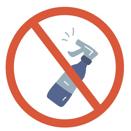 Stop cleaning substance sign icon. Restrict symbol. Vector  illustration.
