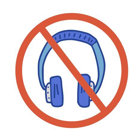 Stop headphones sign icon. Restrict symbol. Vector  illustration. Stock Illustratie
