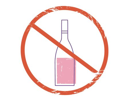 Stop alcohol sign icon. Restrict symbol. Vector  illustration.