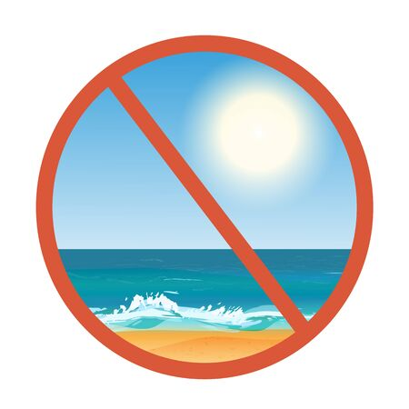 Stop beach sign icon. Restrict symbol. Vector  illustration.
