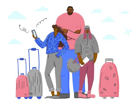Father and two daughters going to travel together. Family characters standing with their luggage  and check in online with phone isolated on white background. Vector flat illustartion.