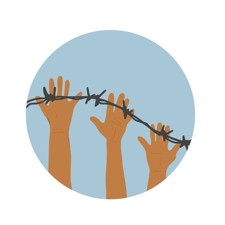 Refugeess concept. Different  hands with barbed wire. Round icon. Vector illustration. Çizim