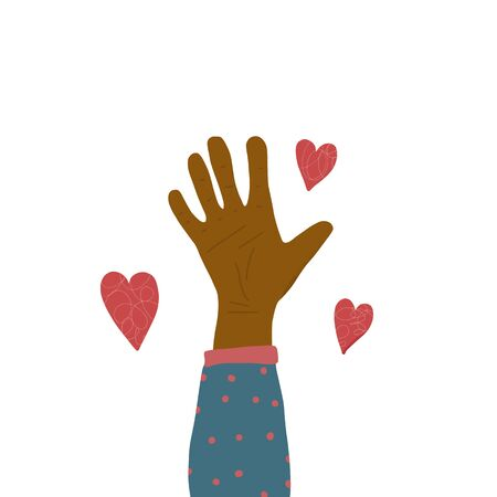 Volunteers palm. Hand of man who do charity. Vector illustration.