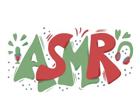 ASMR acronym. Autonomous Sensory Meridian Response text. Stylized  hand drawn lettering. Vector illustartion.