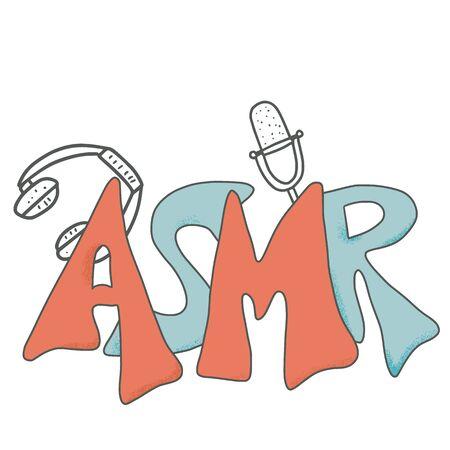 ASMR acronym emblem . Autonomous Sensory Meridian Response text. Stylized  hand drawn lettering. Vector illustartion.  イラスト・ベクター素材