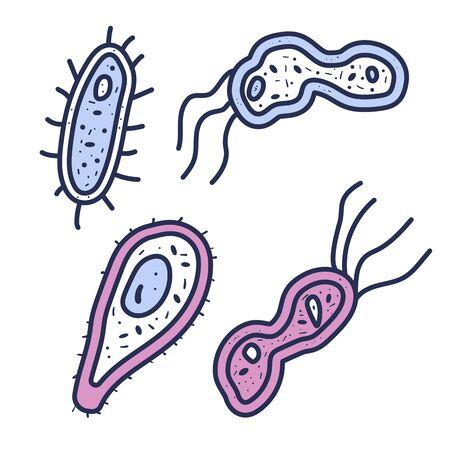Bacterias cells set. Vector illustartion in doodle style.