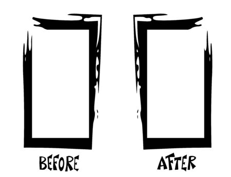 Before and After template. Comparison banner with frames. Vector black and white design illustartion.