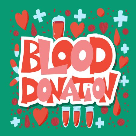 Blood donation emblem. Poster template with quote. Vector color illustration.