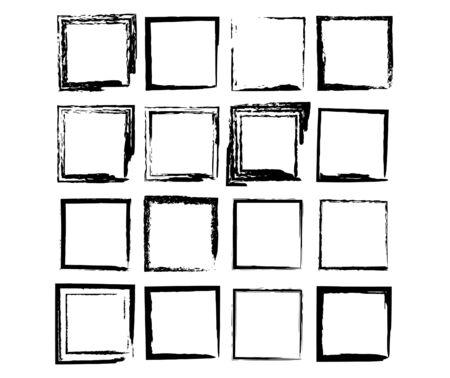 Set of grunge black frames. Borders collections. Collages elements on white background. Reklamní fotografie - 133893920
