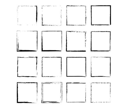 Set of grunge black frames. Borders collections. Collages elements on white background. Reklamní fotografie - 133893925