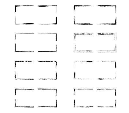 Set of grunge black frames. Borders collections. Collages elements on white background. Reklamní fotografie - 133893926