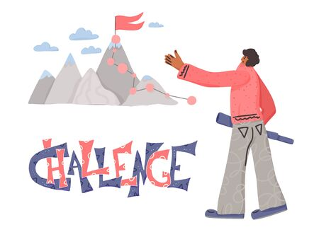 Challenge concept. Mountains with human. Vector illustration. Ilustracja