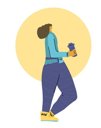 Cute young woman standing with blender bottle.  Sportswoman drinking protein drink after jogging. Runner with sport belt and water. Vector flat cartoon illustation. Ilustração