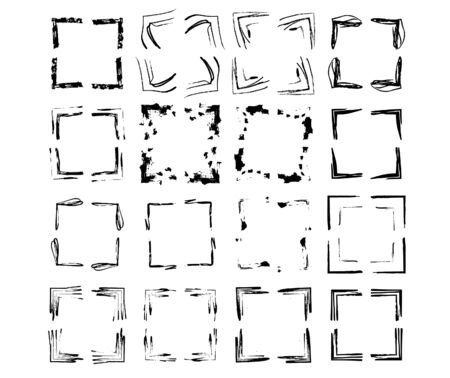 Set of grunge square frames. Collection of black borders. Bundle of elements for collage. Vector illustration.