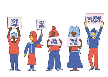 Protesting female group Activists standing together with feminism sign boards. Ladies take part of rally. Vector illustration.