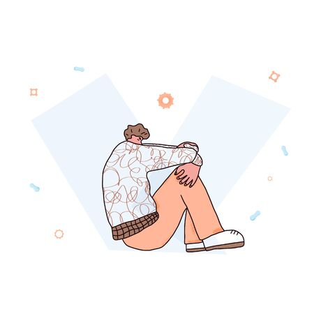 Emotional issues. Boy sitting on the floor with bad mood isolated on white background. Vector illustartion