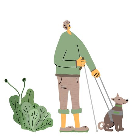 Blind person with his seeing eye dog. Man wallking with a guide dog. Vector illustration