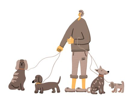 Dog walking service. Handsome boy standing with different pets. Young person keeps the dogs on the leashes. Vector illustration.