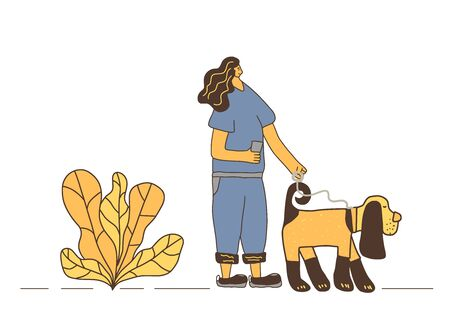 Dog walker concept. Owner walking with her pet. Young woman keeps the dog on the leash. Vector illustration.