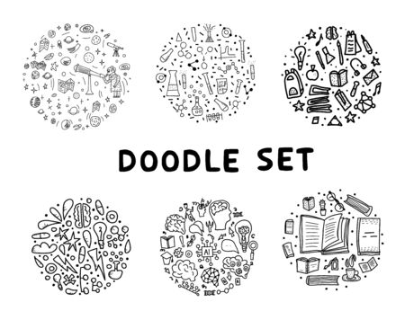 Set of doodle illustration with science and education  subject. Hand drawn icons. Vector collection. Illustration