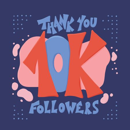 10k folowers social media post. 10000 subscribers post. Vector illustration. Illusztráció
