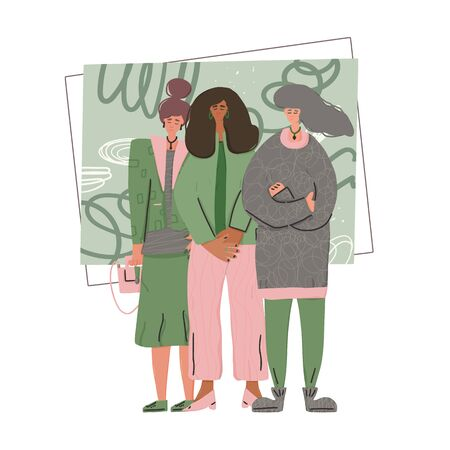 Snappiest dressed women. Three friends standing together. Vector illustration.