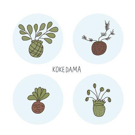 Kokedama-Set. Grünpflanzensammlung mit Text. Vektor-Illustration. Vektorgrafik