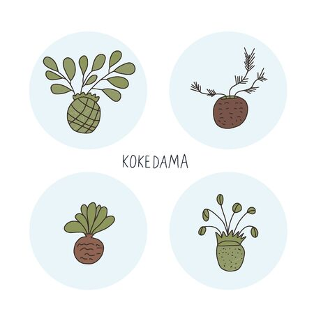 Kokedama set. Green plant collection with text. Vector illustration.