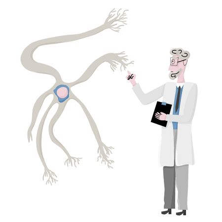 Scientist and giant neuron cells with long axons. Vector illustartion.