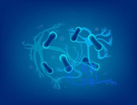 Neuron cells with long axons. Vector illustartion. Illustration