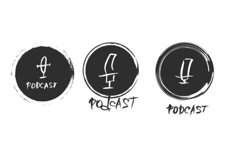 Podcast emblems set. Text. Studio microphone and lettering. Vector illustration. Reklamní fotografie - 133894491