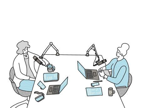 Podcast concept. Young women recording a podcast in a studio together. Two hosts make a performance for listeners. Vector illustartion. Ilustracje wektorowe