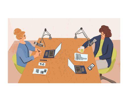 Podcast-Konzept. Zwei junge lächelnde Frauen, die zusammen eine Radio-Audioshow in einem Studio aufnehmen. Vektor-flache Illustration.