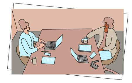 Small business concept. Two young women have a negotiation in their office. Vector illustartion. Ilustracja