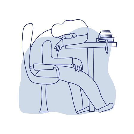 Female person sitting at the table and sleeping. Exhausted woman at work. Vector illustration.